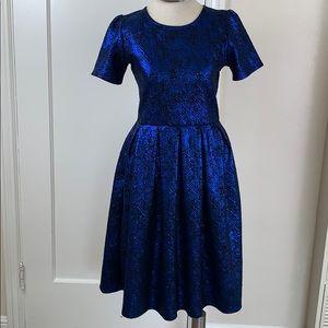 LuLaRoe Elegant Blue Amelia dress shiny foiled